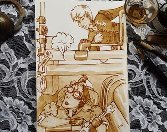 In the Engine Room - Original Sepia Steampunk Art