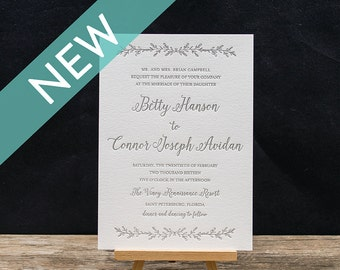 Gardenia Letterpress Wedding Invitation Suite- DEPOSIT