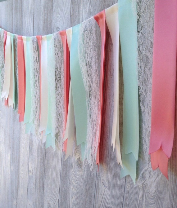 Mint & Coral Ribbon Garland Wedding Garland Birthday