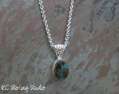 Koroit boulder opal green flash pendant necklace with sterling silver - metalsmith silversmith