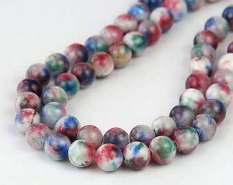 Mountain Jade Beads, Blue, Red and Green Mix, 8mm Round - 15 Inch Strand - eMCJ-502-8