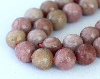 Rhodonite Beads, 8mm Faceted Round - 15 inch Strand - eGF-RD033-8
