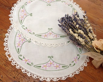 Hand made vintage linens Vintage hand embroidered doilies,lavender and green crochet linen doily floral embroidery