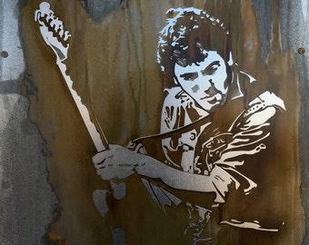 Bruce Springsteen Portrait Fan Art, Music Art, The Boss Painting, Rusted Metal Artwork, Industrial Decor, Original Art, Gift for Music Lover