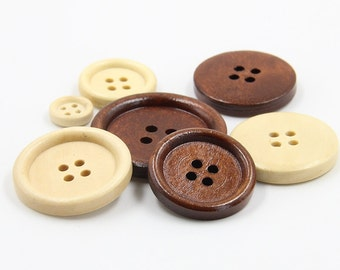 6 Pcs 0.39~1.18 Inches Minimalist Brown-red/Wood-color 4 Holes Wood Shell Buttons For Shirts Coats Sweaters