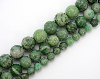 Natural Qinghai Jade Jasper Gemstone Round Beads Strand 15.5'' 6mm 8mm 10mm for Jewelry Making Crafts