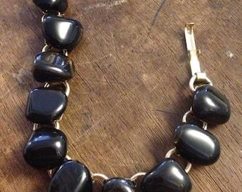 "Sale Vintage 6.75"" Black Stone Bracelet"