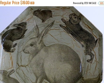 ON SALE Gorgeous Octagonal Glass Plate with Vintage Images of Rabbits / Reverse Painted / Gold Back