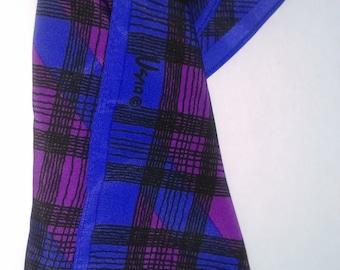 Vera Purple Plaid Silk Scarf 1970s