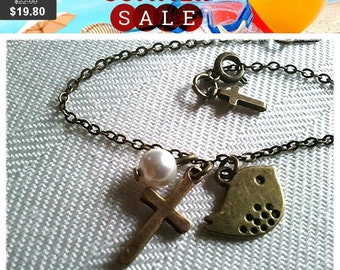 Antiqued Vintage Cross with Bird and Pearl Charms .Bracelet - simple, modern, friend gift