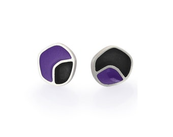 Sterling Silver and Resin Studs, Little Cute Geometric Everyday Casual Purple Post Earrings Colorful Jewelry  Gift for Her Christmas Gift