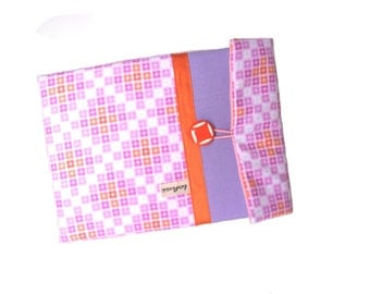 8 inches pad case mauve and pink geometric fabric , ipad sleeve , padded case