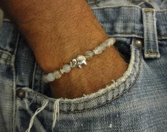 Elephant bracelet with agate beads - crackle faceted agate - cracked faceted bead bracelet - pewter elephant bracelet
