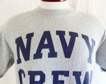 vintage 80's United States U.S. Navy Crew heather grey graphic t-shirt navy blue block letter spellout logo print military oversized medium