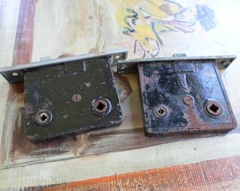 Lot of 2 Vintage Salvage, Distressed Door Locks, Vintage Hardware, Door Hardware, Reclaimed Hardware, Old Hardware