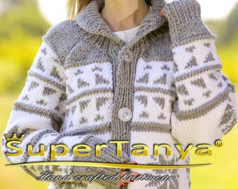 Made to order Cowichan wool hand knitted sweater cardigan in grey and white by SuperTanya