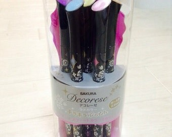 Sakura DECORESE Glittered Gel Ballpoint Pens -  5 Sweet Color Set