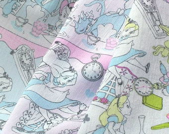 Disney Alice in Wonderland Cotton Chiffon Japanese Fabric / Half Yard