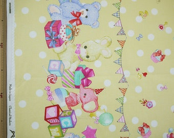 Classical and Modern Japanese Fabric  / Stuffed Animal Oxford Fabric Yellow - 50cm x 110cm