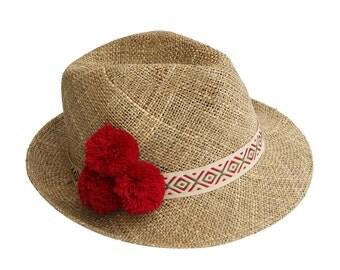 Straw Fedora Hat With Pompom , Womens Straw Fedora Hat , Mens Straw Fedora Hat , Sun Hat , Fedora Summer Hat