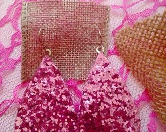 Pink Glittered Lady Earrings~Decorative Tear Drops~Party Earrings~Casual Wear Earrings~Gift Idea~Dangle Earring