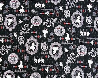 Fat Quarter Alice In Wonderland Black 100% Japanese Cotton Quilting Fabric