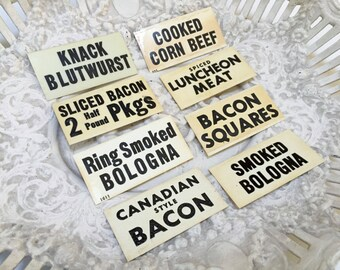 VINTAGE ADVERTISING SIGNS - Black White Plastic - Butcher Shop - Supermarket - Meat Bacon Veal Ham