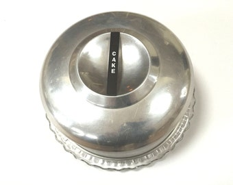 VINTAGE KROMEX CAKE Saver - Brushed Aluminum - Glass Cake Plate With Feet - Mid Century