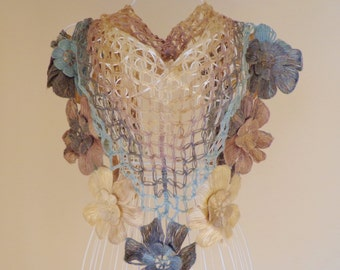 Triangular Angora Shawl ,Flower,Winter Crochet Shawl.