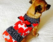 Small Dog Harness Dress Scottie Dog and Bone Print Red, Black & White Cotton with Ruffle, Custom Order to Fit Pomeranian or Yorkie Size