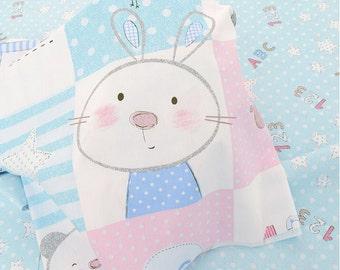 Kid's Cotton Fabric, Cartoon Rabbit Bear Plaid Cotton For Baby Children- 1/2 Yard