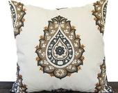 Pillow, Throw Pillow, Pillow Cover, Cushion, Decorative Pillow, Damask Caramel Brown Cream Gray traditional contemporary modern decor