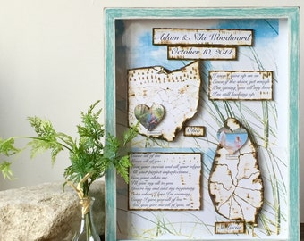 Anniversary  Gift - Custom Travel Map  - State Map and Heart -Personalized Gift Shadow Box Art