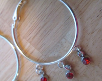 Silver Tone Hoop Earrings with Red Crystal Beads Dangles