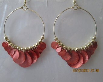 Gold Tone Hoop Earrings with Rust Color Disc Bead Dangles and Gold Tone Spacers