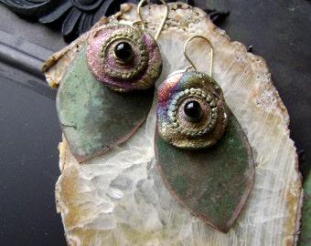 raku assemblage earring, mixed media jewelry, verdigris patina, artisan ceramic, mixed metal, asymmetrical, rustic earring,  AnvilArtifacts