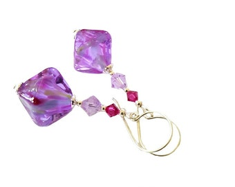Dazzling bicone lilac lampwork bead earrings with geniune violet, bright fushia Swarovski Crystals, Sterling Silver