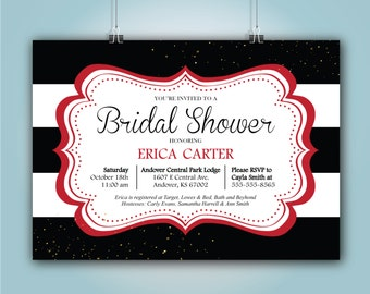 "Black and Red Bridal Shower Invitation, ""Erica Design"" 5x7"