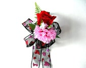 Gift wrapping bow/ Valentine's Day bow/ Hearts and flowers/ Bow for women/ Valentine party decoration/ Large gift bow (V72)