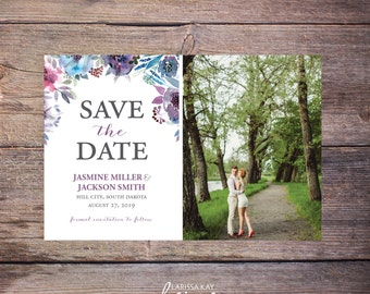 Save the Date Postcard,Floral Save-the-Date Invite, Flowers, Card, Photo, DIY Printable, Digital File – Jasmine