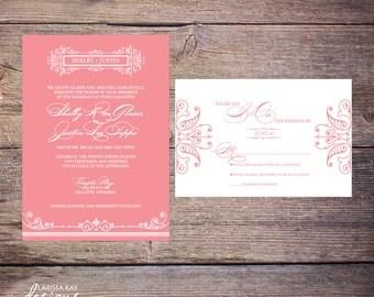 Shabby Chic Wedding Invitation, Unique Wedding Invitation, Monogram Wedding Invitation, Custom Wedding Invitation