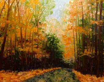 70% Off Sale Autumn Road, Original Impressionist Fine Art Oil Painting, Fall Landscape Painting