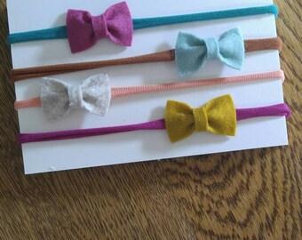 The Evelyn Set-Set of 4 Itty Bitty Bow Nylon Headbands