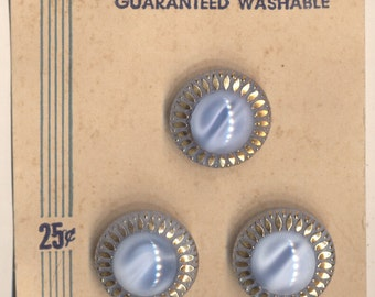 """Set of Three 11/16"""" Light Blue & Gold Glass Buttons - US Zone Germany"""