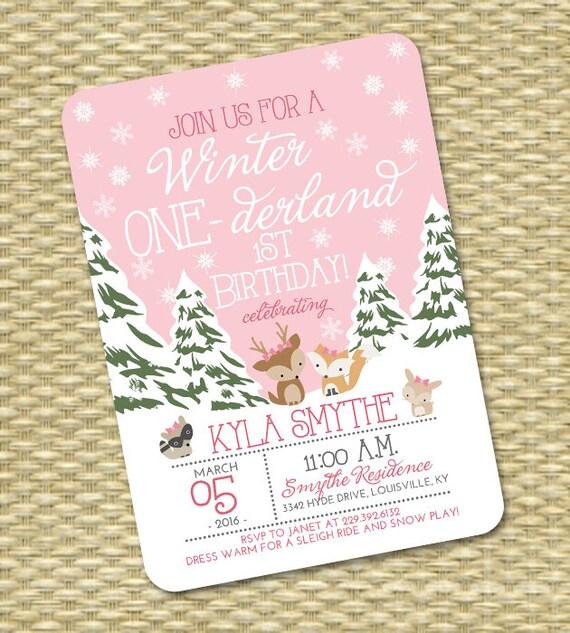 Winter ONE-derland 1st Birthday Invitation First Birthday