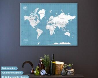 Push Pin map canvas, push pin travel map, custom world travel map, traveler pin map, modern world map on canvas