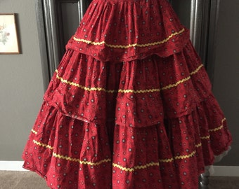 50s tiered Red Calico Skirt