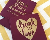 Drunk in Love, wedding can cooler Drunk in Love wedding favor, stubby holder, beer can cooler, beer holder, drink kooler drunk in love - 300