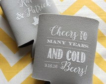 Cheers to Many Years and Cold Beers Modern wedding favor, Cold beers coolie, chalkboard font can cooler, cheers to many years coolie-50 qty