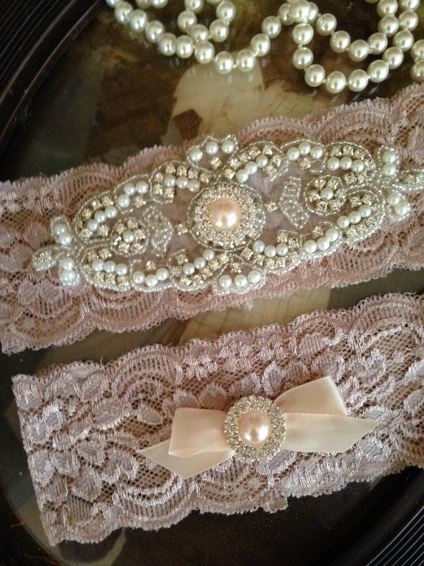 Wedding Garter-Garter-Garters-Champagne-Rhinestone